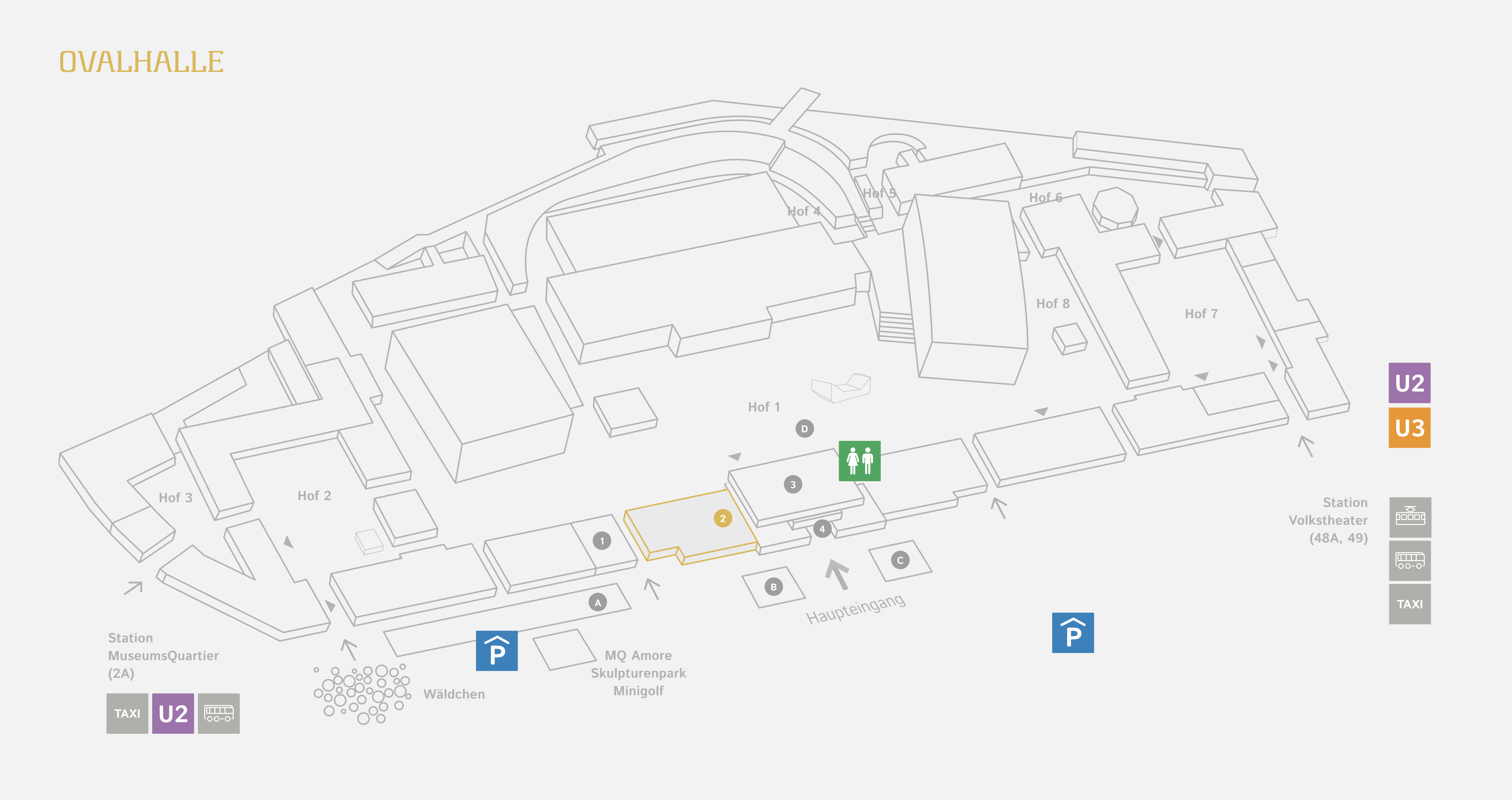 The entrance to the Ovalhalle is just to the left of the main entrance (between the 1 & 2 marked on the map above).